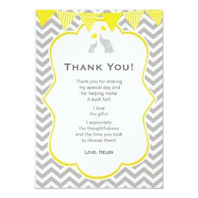 Elephant Chevron Yellow Baby Shower Thank You Invitations