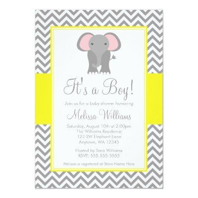 Elephant Chevron Yellow Gray Baby Shower Invitations