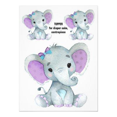 Elephant Diaper Cake Topper, Centrepiece decor Invitation