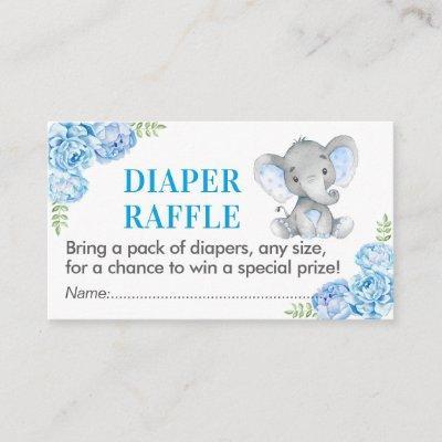 Elephant Diaper Raffle Ticket Blue Baby Shower Boy Enclosure Card