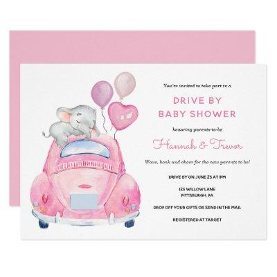 Elephant Drive By Baby Girl Shower Invitation