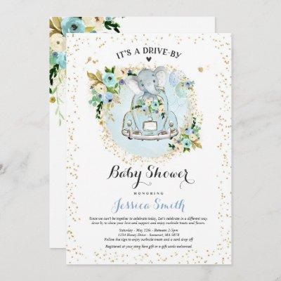 Elephant Drive By Baby Shower Invitation Blue