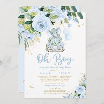 Elephant Drive By Baby Shower Invitation Blue Rose