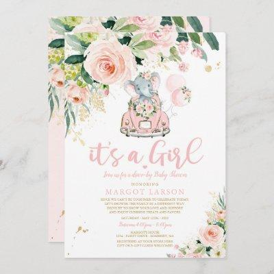 Elephant Drive By Baby Shower Invitation Pink Rose