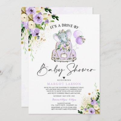 Elephant Drive By Baby Shower Invitation Purple