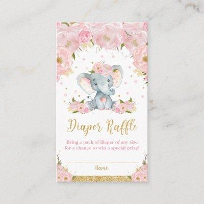 Elephant Floral Baby Shower Diaper Raffle Cards