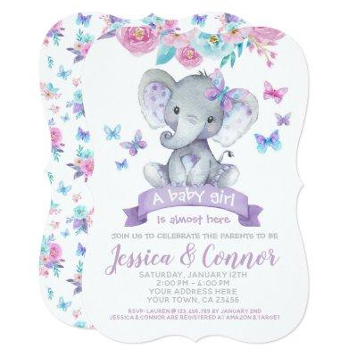 Elephant Floral Baby Shower Invitations
