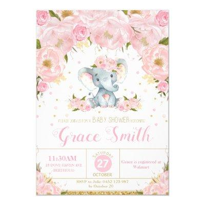 Elephant Floral Baby Shower Invitations Girl
