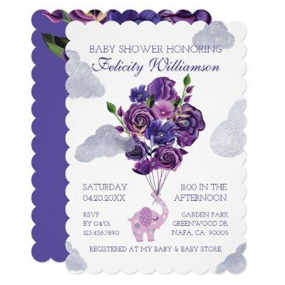 Elephant Floral Balloons Baby Shower Invitations