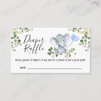 Elephant Foliage Baby Shower Diaper Raffle Enclosure Card
