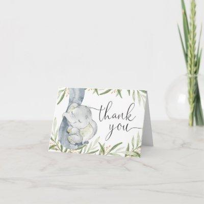 Elephant gender neutral greenery watercolor thank you card