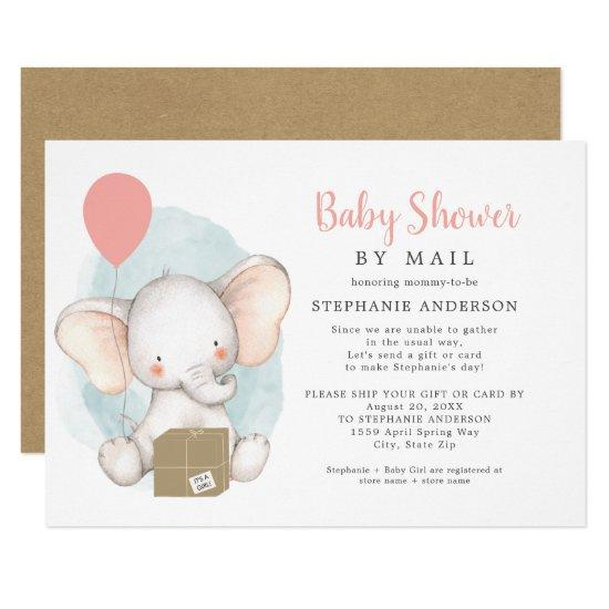 Elephant Girl Baby Shower by Mail Invitation