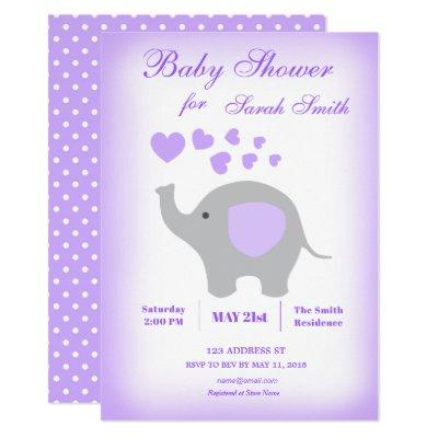 Elephant Girl Baby Shower Invitations Purple Hearts