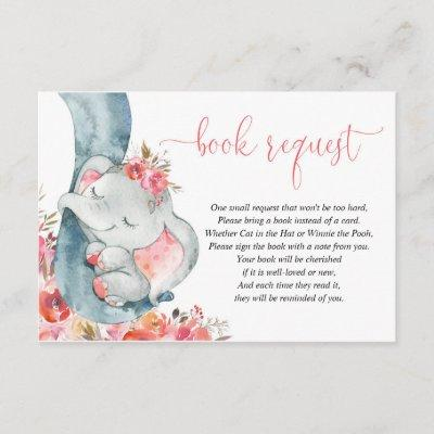 Elephant girl coral pink book instead of card
