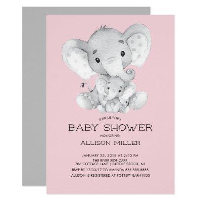 Elephant Girls baby Shower Invitation