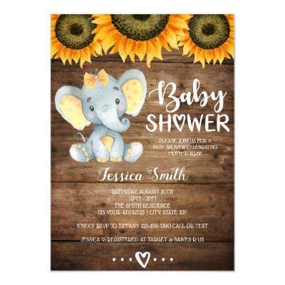 Elephant girls baby shower rustic sunflower yellow invitation