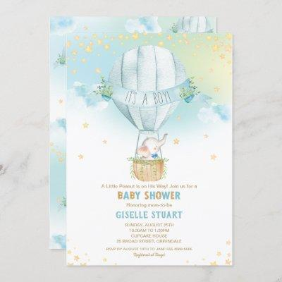 Elephant Hot Air Balloon Baby Shower Boy Whimsy Invitation