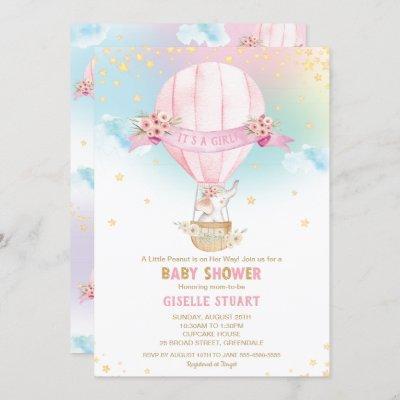 Elephant Hot Air Balloon Baby Shower Girl Invitation
