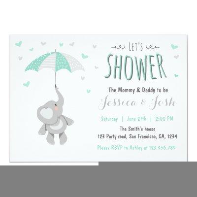 Elephant Little Peanut Baby Shower Invitations Mint
