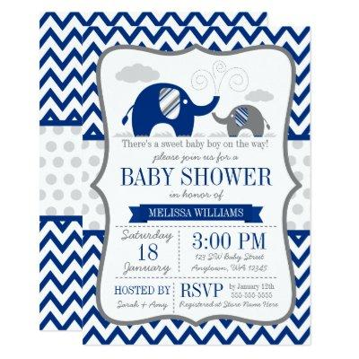 Elephant Navy Blue Gray Invitations