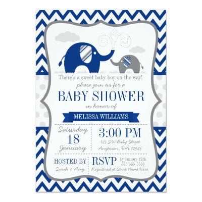 Elephant Navy Blue Gray Baby Shower Invitations