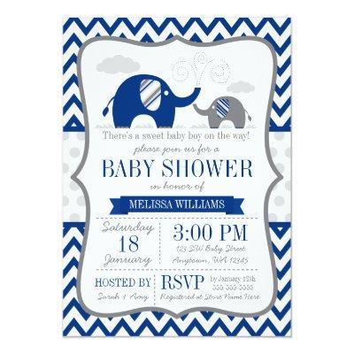 Elephant Navy Blue Gray Baby Shower Invitations
