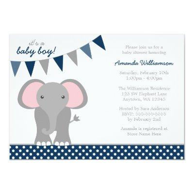 Elephant Navy Polka Dot Banner Boy Baby Shower Invitation