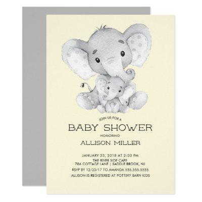 Elephant Neutral baby Shower Invitation