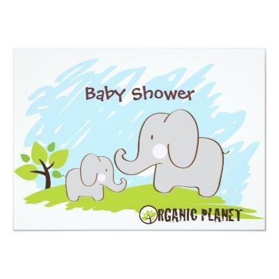 Elephant Organic Planet Baby Shower Invitaitions Invitations