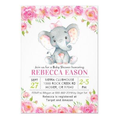 Elephant Pink Floral Baby Girl Shower Sprinkle Invitation