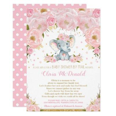 Elephant Pink Floral Baby Shower by Mail Girl Invitation