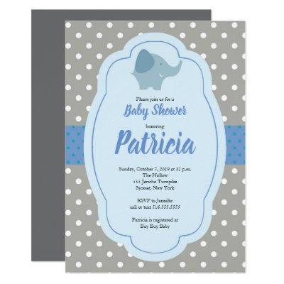 Elephant polka dot baby shower Invitations