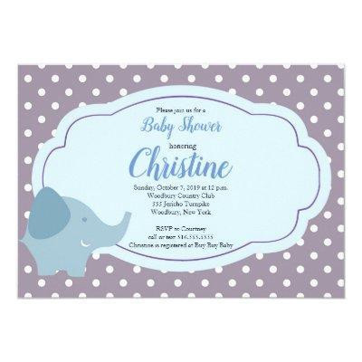 Elephant Polka Dot Grey Blue Baby Shower Invitations