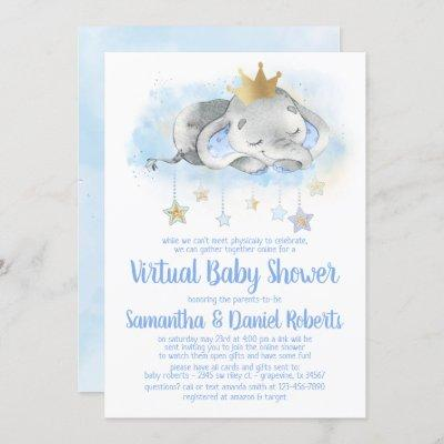 Elephant Prince Virtual Baby Shower Invitation