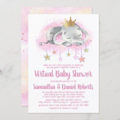 Elephant Princess Virtual Baby Shower Invitation