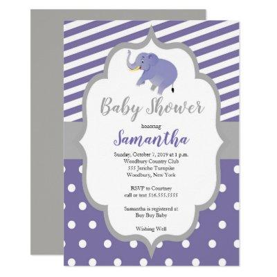 Elephant purple Stripes Baby Shower Invitation