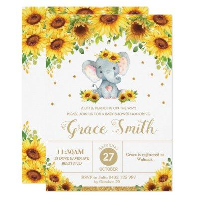 Elephant Sunflower Floral Baby Shower Girl Invitation