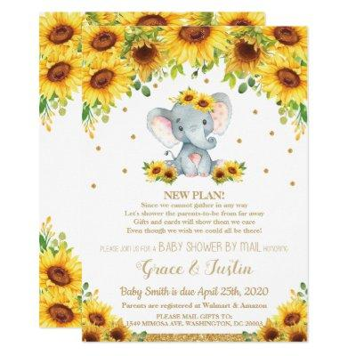 Elephant Sunflower Virtual Baby Shower by Mail Invitation