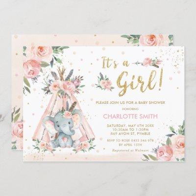 Elephant Tribal Blush Floral Girl Baby Shower Invitation