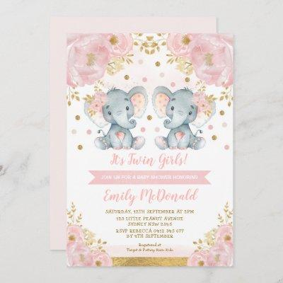 Elephant Twin Girls Baby Shower Pink Gold Floral Invitation