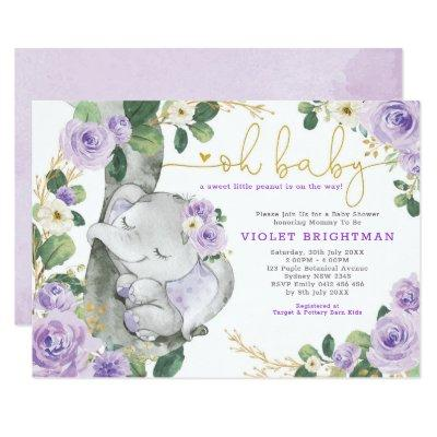 Elephant Violet Purple Floral Garden Baby Shower Invitation
