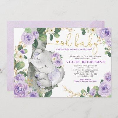 Elephant Violet Purple Floral Garden Baby Shower Invitation