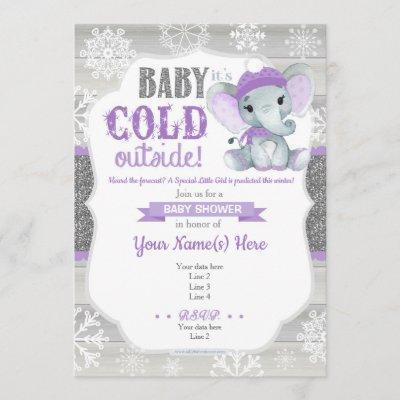 Elephant Winter Invitation for Girl Shower Purple