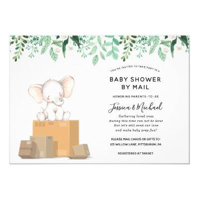Elephant with Greenery Baby Shower by Mail Invitation