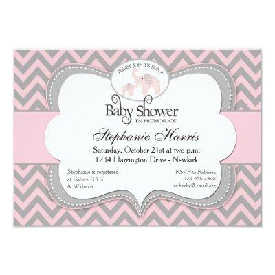 Elephants Baby Shower in Chevron Pink Invitations