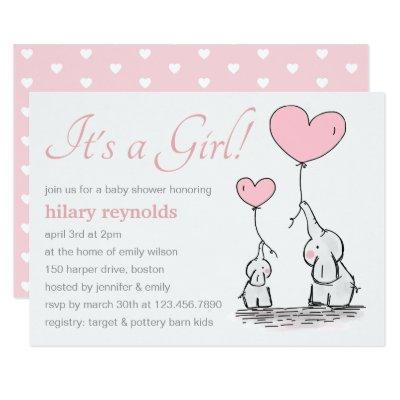 Elephants   Pink Heart Balloons Baby Shower Invitations