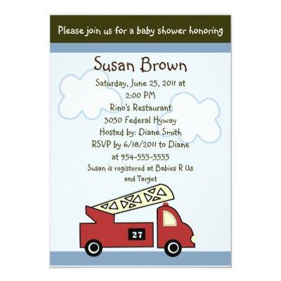 Engine 27 Firetruck Baby Shower Invitation