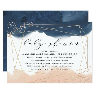 Ethereal | Indigo and Blush Baby Shower Invitations