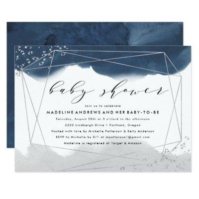 Ethereal | Indigo and Gray Baby Shower Invitation