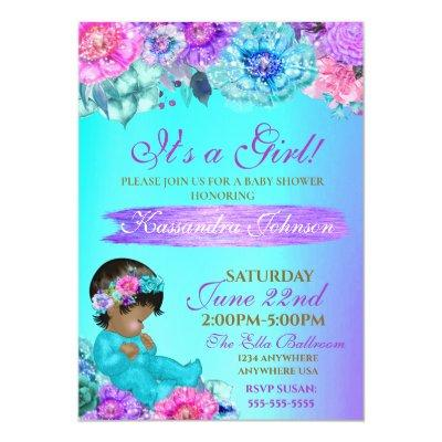 ethnic Baby elegant Purple teal Gold baby shower Invitation
